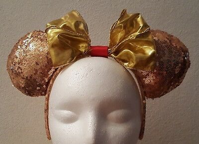 Handmade Mickey Mouse Ears Headband  Rose Gold Sequins W/ Shiny Gold & Red Bow