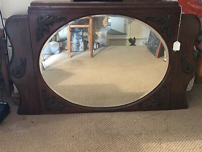 Antique Victorian Large Over Mantle Mirror With Bevelled Edges