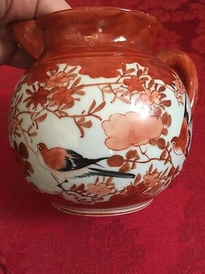 Antique Japanese Kutani Porcelain Pitcher Burnt Orange Signed Birds Floral Sign