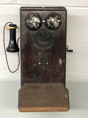 Antique Early 1919 Northern Electric Wooden Crank Wall Phone Telephone