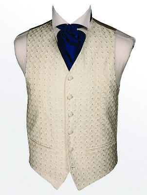 """Men's Luxury Ivory Embroidery WaistCoat New XL 44"""" Chest New Branded DressCode"""