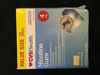 Nicotine gum 4MG ORIGINAL 170 PIECES BRAND NEW FACTORY SEALED