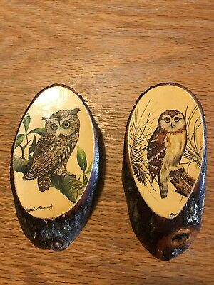 2 vintage small rustic wood plaques owl art decoupage pictures wall hanging