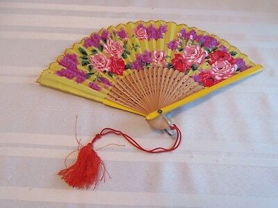 Antique Colorful Made In Japan Hand Painted Hand Fan