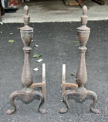 Vintage Cast Iron Fireplace Wood Stove Andirons Set of 2.