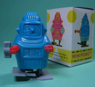 ORIGINAL WIND UP ROBOT ROBOTER MADE IN HONGKONG GRÜN/BLAU + OVP Boxed *****