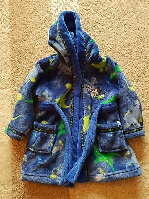 Boys Disney Mickey Mouse Dinosaur Dressing Gown *6-9 Months* HARDLY WORN