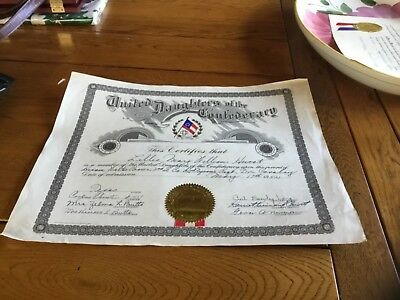 United Daughters Of The Confederacy Certificate. 1952