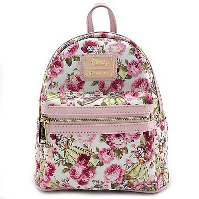 NWT LOUNGEFLY DISNEY Beauty and the Beast Belle Floral Mini Backpack Faux