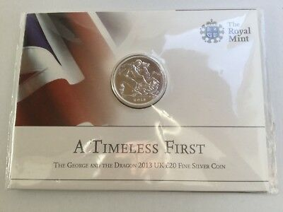 Royal Mint George & Dragon 2013 UK £20 Fine Silver Coin - A Timeless First