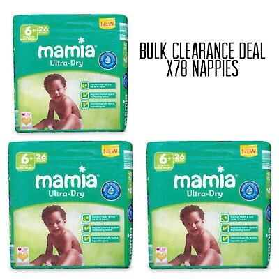 Mamia Extra Large size 6+ Mamia 78 Nappies 17+kg/37+lbs 3 Packs 26 FAST DISPATCH