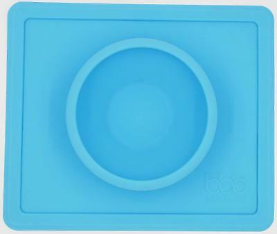 Silicone Baby Placemat with Bowl - Non-Slip - Reusable - One-Piece - Blue