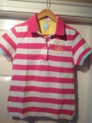 Womens Joules pink/white striped polo shirt 12