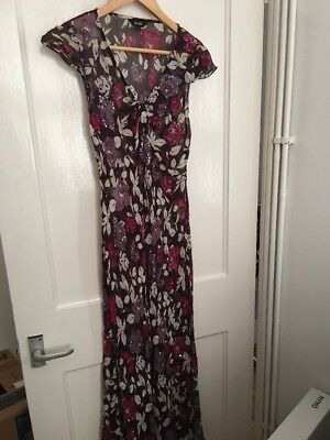 Hobbs Size 8 Purple Sheer Maxi Dress Floral Print