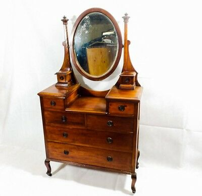 Edwardian Oval Mirrored Dressing Table Chest Of Drawers 1900's 8 Drawer