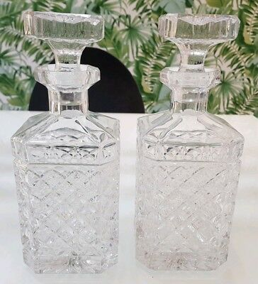 Pair Of Stunning Vintage Heavy Crystal Glass Whiskey Decanters