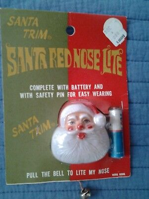 Vintage Lite Light Up Nose Christmas Santa Lapel Pin In Package