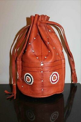 Native Made Leather Drawstring Purse