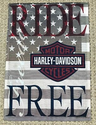 New Harley Davidson Ride Free Garden Flag - Weather Resistant - Great Gift