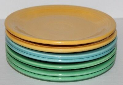 """Vintage Lot of 7 Fiesta Salad Plates Multiple Colors 7 3/8"""" Inches Wide"""