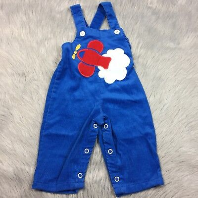 Vintage Baby Boys Buster Brown Corduroy Blue Airplane Romper
