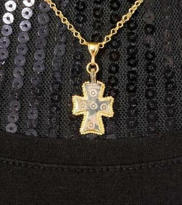 Vicki Orr Ancient Roman Bronze Cross 21k Yellow Gold Pendant