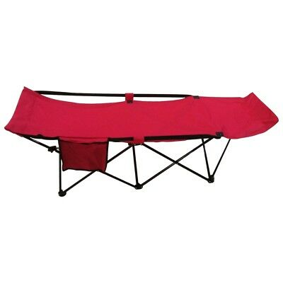 ALEKO Portable Collapsible Camping Bed with Side Storage Bag Red Color