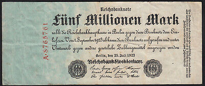 1923 Germany 5 Million Mark Rare Old Vintage Banknote Money Bill Note Currency