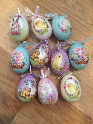 Vintage Style Egg Ornaments Easter Spring Chicks Bunnies Flowers Lot of 10