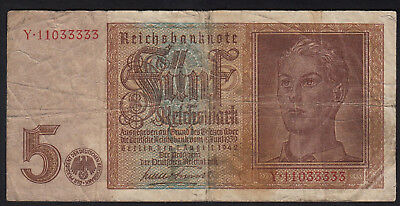 1942 5 Reichsmark Germany WWII Nazi Money Hitler Youth Swastika 3rd Reich Note