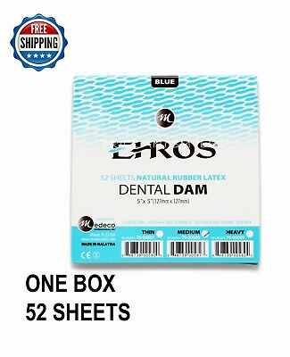 "Dental Endodontic Rubber Dam Natural Latex MEDIUM Gauge 5""x5"" Blue  52/box EHROS"