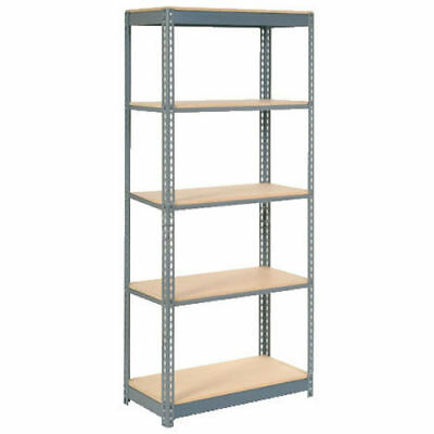 "Boltless Heavy Duty Shelving 36""W x 12""D x 72""H, 5 Shelves, Wood Deck, Lot of 1"
