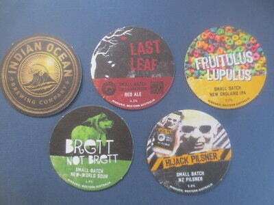 5 different INDIAN OCEAN Micro BREWERY, Western Australia Issued BEER Coasters