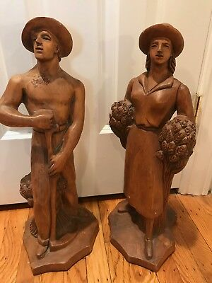 Antique Original French Wooden Carved Figures Man And Woman Circa 1930