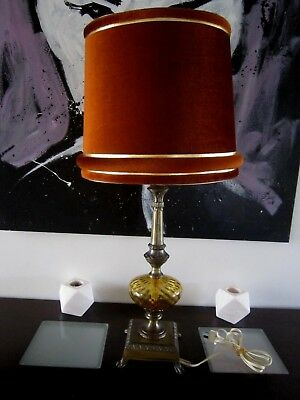 Stunning Vintage Very Retro Stately Tall Brass & Glass Table Lamp With Shade