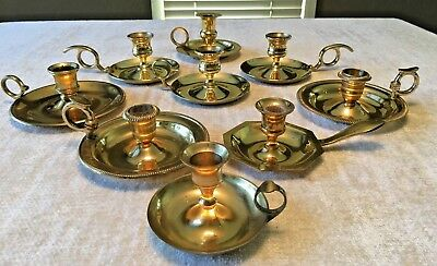 Lot of 9 Misc Vintage Brass Chamber sticks Candle holders - Candlesticks Shiny