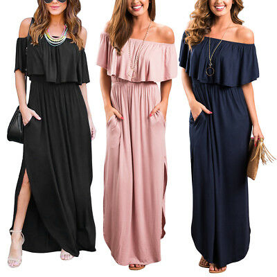 Women Ruffle Long Maxi Dress Off Shoulder Formal Evening Cocktail Party Dresses