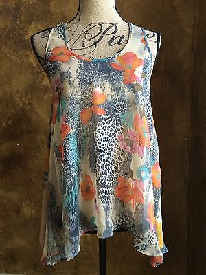 Boutique Lot Women's Junior's S 2 Top Tank Blouse Floral Animal Print