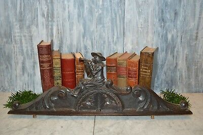Antique French Carved dark Wood large Breton Pediment Frenchman Playing Horn