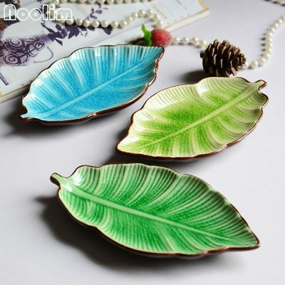 Banana Leaf Shape Dish Ceramic Dishes Ice Crack Glaze Lovely Small Plate Dish