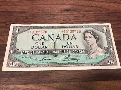 Circulated Bank Of Canada 1954 $1 One Dollar Bill Replacement Note * X/F