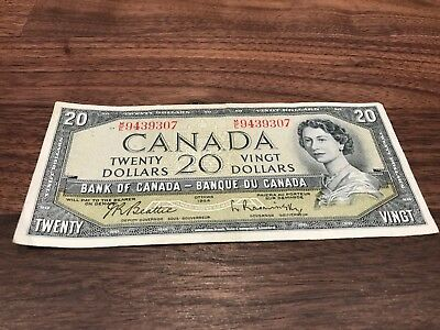 ~1954 CANADIAN 20 DOLLAR BILL- Raminsky and Beattie~ Lightly Circulated~