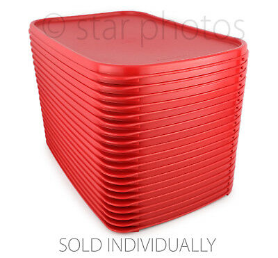 Tupperware Modular Mates Rectangle Seal Replacement Lid in Popsicle Red - NEW!