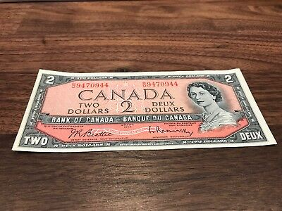 1954 - $2 Canada note - Canadian two dollar bill Circulated