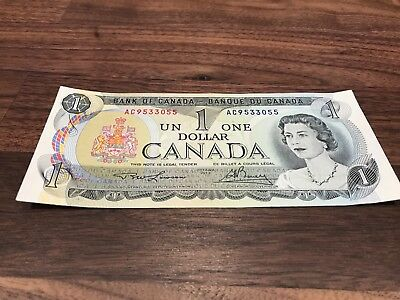 1973 One Canadian Bill 1 Dollar Canada Lawson Bouey Circulated