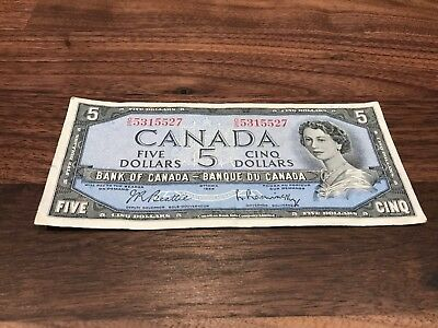 Bank Of Canada 1954 $5 Five Dollar Bill Note Circulated