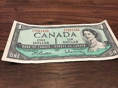 Circulated Bank Of Canada 1954 $1 One Dollar Bill Replacement Note