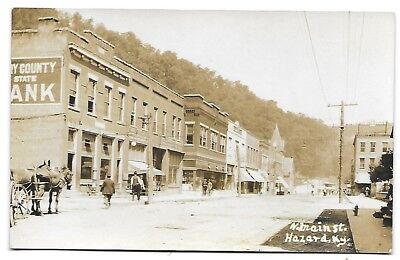 RARE early 1900s RPPC N. Main St. Hazard, KY Bank, Hardware Store, Drug Store +!