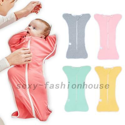 Soft Newborn Baby Cotton Swaddle Wrap Swaddling Blanket Zipper Sleeping Bag AU