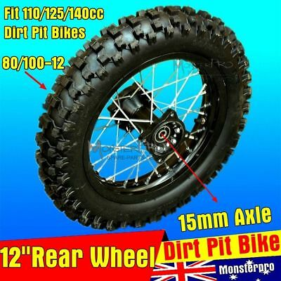 12 Inch 15mm Axle Complete Rear Wheel for 110cc 125cc 140cc Dirt Trail Pit Bike